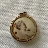 Antique Victorian Photograph Mourning Jewelry Necklace Charm  Beautiful Woman