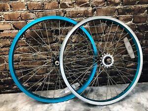 Araya 20x1.5 VP-20 Blue BMX Old School Wheel Set Joytech 96K Hubs 16t Freewheel
