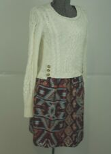 Anthropologie Lilka Duxbury Dress Size XS Cable Knit Sweater Full Skirt Aztec