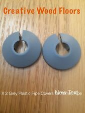 x 2 Unika Grey Plastic Pipe Cover - Clip Together For Floors - For a 15mm Pipe