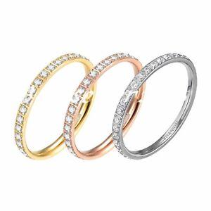 2mm Women Titanium Engagement Ring Cubic Zirconia Eternity Wedding Band Sz# 4-12