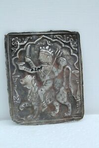 OLD INDIAN GODDESS MATAJI EMBOSSED ANTIQUE SILVER PLATE PLAQUE RARE GENUNENH1381
