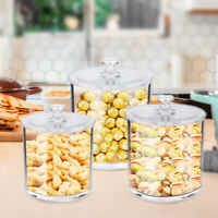 Premium Quality Clear Plastic Apothecary Jars,Set of 3 Storage Organizers Cotton
