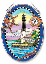 AMIA STAINED GLASS SUNCATCHER 6.5 X 9 OVAL PENSACOLA LIGHTHOUSE    7848