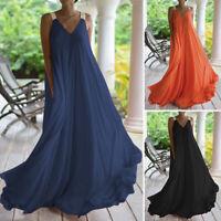 ZANZEA Women Sleeveless Summer Tank Dress Long Maxi Dress Party Sundress Plus