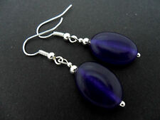 A Pair Of Simple Purple Jade Silver Plated Drop Dangly Earrings. New.