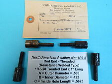"""1/4""""-28 Threaded 4 Weldable Rod Ends WWII North American Aviation 1R2-8 Aircraft"""