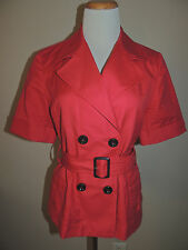 WOMENS BANANA REPUBLIC RED LINEN BLEND DOUBLE BREAST SHORT SLEEVE BLAZER SIZE 8