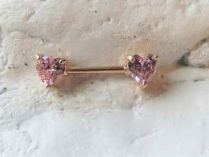 18K Rose Gold Over Pink Heart Sapphire Nipple Barbell Ring Gauge (Thickness):14G