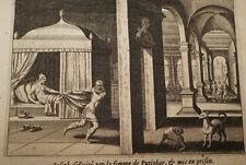 GRAVURE SUR CUIVRE CHASTETE JOSEPH PUTIPHAR -BIBLE 1670 LEMAISTRE DE SACY  (B24)