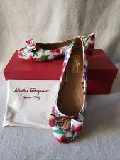 New Salvatore Ferragamo Varina Balerina Ballet Flats Vara Bow 7 B Floral Print