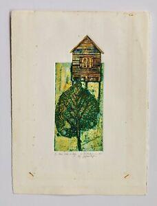 Anna Nicholson Casa Sobre La Hoja 5/10 Engraving Print Puerto Rico 1995 Art