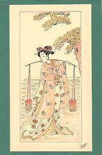 Dessin encre de chine & aquarelle Japon Hand made china ink signé Geneviève n1