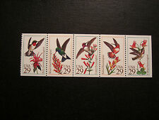 United States Scott 2642- 2646 Hummingbirds booklet pane of 5 stamps