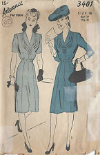 "1940s Vintage Sewing Pattern DRESS B34"" (60)"