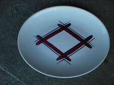 Vintage USA Pottery Serving Platter w Green & Cranberry Plaid Design