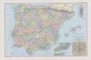 1898 Large Antique Colour Map SPAIN AND PORTUGAL Madrid Lisbon Gibraltar (NGA14)