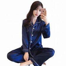 Silk Fabric women satin Pajamas set long sleeve sleepwear nightwear babydoll PJ