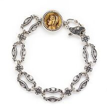 KONSTANTINO SILVER AND BRONZE COIN BRACELET STERLING ESTATE