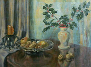 Fritz Trauthmann 1872 - 1954 - Still Life With Apples, Walnuts And Candle