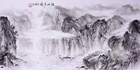 100% ORIGINAL ASIAN ART CHINESE SANSUI WATERCOLOR PAINTING-Landscape scenery