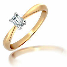 Emerald Yellow Gold Solitaire Engagement Fine Diamond Rings