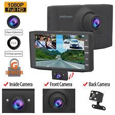New listing 4'' 1080P Hd 3 Lens Car Dvr Video Dash Cam Camera Night Vision + Rearview Camera