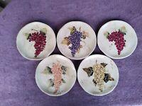 "Tabletops Unlimited CABERNET Ceramic Salad Plates Grapes 8.5"" Set of 5"