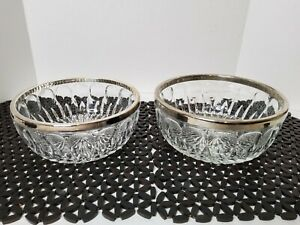 Vintage Heavy Cut Glass Starburst Silver Plated Trim set Of 2 serving Bowls.