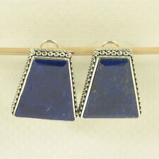 Sterling Silver .925 Large Natural Blue Lapis Lazuli Omega Clip Earrings TPJ