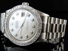 Mens Stainless Steel Rolex Datejust Presidential 36MM MOP Diamond Watch 2.5 Ct