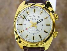Wilka Collectible Swiss Gold Plated Alarm Men's Manual Dress Watch c1960s L197