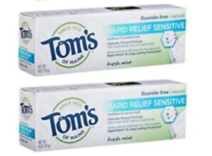 Tom's Of Maine Rapid Relief Sensitive Natural Toothpaste Fresh Mint 4 oz, 2 Pack
