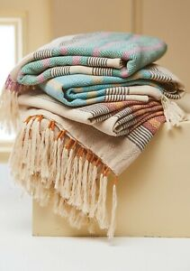 Hand crafted cotton throws with tassels available in 3 colours and 2 sizes
