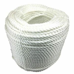 10mm White 3 Strand Nylon Rope, Anchor Boat Mooring Yacht - Select Your Length