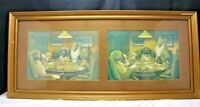 "Antique Framed Advertisement Ads ""Drink Rex Bitters"" Dogs Playing Poker"