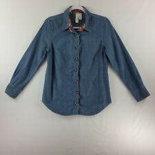 Matilda Jane Paint By Number Womens Button Front Top XS Chambray Long Sleeve
