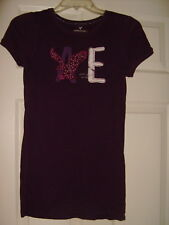 Juniors American Eagles Outfitters Top Dark Purple  Distressed Patches S   NWOT