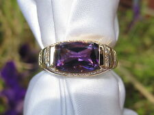18k Amethyst Diamond Ring Yellow Gold Modern Fine Jewelry Purple Size 7