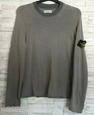Mens STONE ISLAND Jumper Size Medium Grey Thin Knit 100% Cotton Iconic Badge
