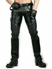 Men's Real Cowhide Leather Pants Black Quilted Pants with Two Zipper at Front