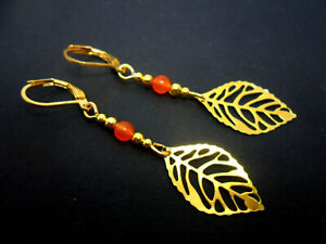 A PAIR GOLD COLOUR ORANGE JADE BEAD  LEAF THEMED LEVERBACK HOOK EARRINGS. NEW.