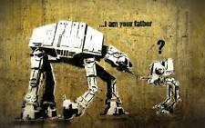 BANKSY STAR WARS - father- QUALITY CANVAS ART PRINT- Poster A4