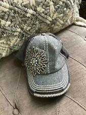 Olive & Pique Rhinestone Flower Front Baseball Style Hat - GRAY
