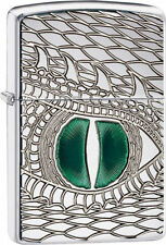 Zippo Armor Deep Carve Lighter With Green Enameled Dragon Eye, 28807, New In Box