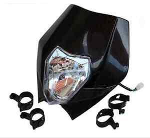 Black Motorcycle Headlight For Kawasaki Suzuki Yamaha  Dual Sport Street Bike