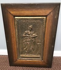 Vintage Antique Cast Metal Picture 19 X 27 Heavy Woman Carrying Tray Stunning