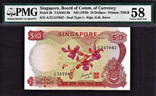 Singapore $10 Orchid Series ND (1970) Signature- GKS Pick-3b About UNC PMG 58