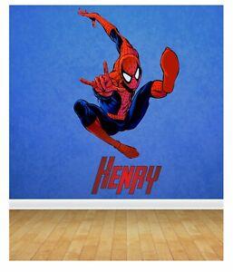 Spiderman Personalised Wall Sticker 58cm x 100cm Decal Children's Boy's transfer