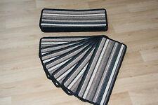 14 Striped Open Plan Carpet Stair Treads Bolero Black / Brown 14 Large Pads!
